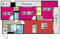 S-FORT榴岡公園 8階3LDKの間取り