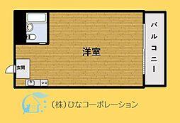 JR山手線 目黒駅 徒歩11分の賃貸マンション 1階ワンルームの間取り