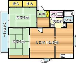 福岡県北九州市八幡西区南王子町の賃貸アパートの間取り