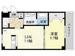 阪神本線 出屋敷駅 徒歩17分の賃貸マンション 2階1LDKの間取り