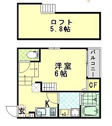 仮称:ハーモニーテラス・大阪市東淀川区大桐三丁目A 1階1Kの間取り
