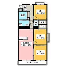 ヴィガラスコート[2階]の間取り
