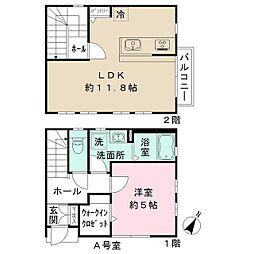 京王線 初台駅 徒歩5分の賃貸テラスハウス 2階1LDKの間取り