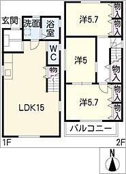 [一戸建] 愛知県名古屋市北区辻町4丁目 の賃貸【/】の間取り