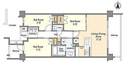 東急田園都市線 たまプラーザ駅 徒歩3分の賃貸マンション 3階3LDKの間取り