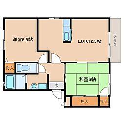 奈良県奈良市六条西3丁目の賃貸アパートの間取り