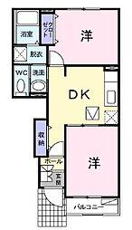 JR福塩線 備後本庄駅 徒歩29分の賃貸アパート 1階2DKの間取り