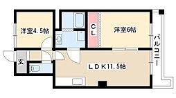 愛知県名古屋市南区岩戸町の賃貸マンションの間取り