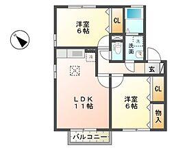 滋賀県東近江市東中野町の賃貸アパートの間取り