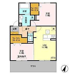仮)D−roomセントラルパークB[102号室]の間取り
