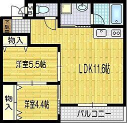 LATTICE UZUMASA[201号室]の間取り