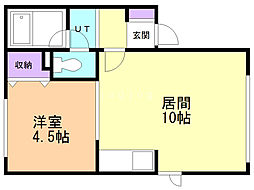 ツツジセカンド(旧第2つつじ荘) 2階1LDKの間取り