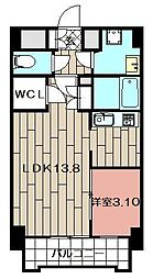 Studie小倉離宮 2階1LDKの間取り