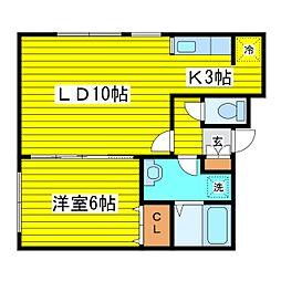 北海道札幌市東区北二十一条東8丁目の賃貸アパートの間取り
