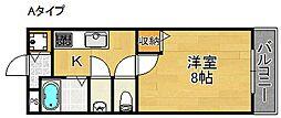 大阪府大阪市西成区南津守7丁目の賃貸アパートの間取り