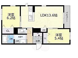 大阪モノレール本線 千里中央駅 徒歩10分の賃貸アパート 3階2LDKの間取り