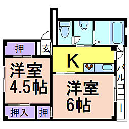 ビレッジハウス奈良部1号棟 3階2Kの間取り