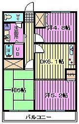埼玉県さいたま市大宮区寿能町2丁目の賃貸マンションの間取り