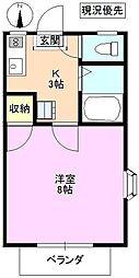 シャトリエ 2階1Kの間取り