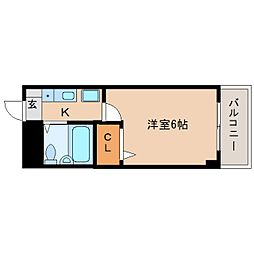 近鉄奈良線 富雄駅 徒歩3分の賃貸マンション 2階1Kの間取り