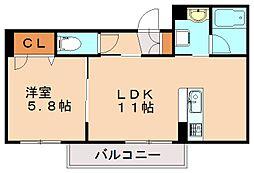 (仮)シャーメゾン津屋崎 1階1LDKの間取り