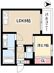 R-SMART金山ウエスト 2階1LDKの間取り