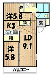 神奈川県横浜市泉区下飯田町の賃貸アパートの間取り