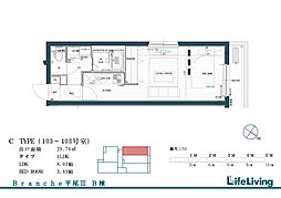 Branche平尾III east 4階1LDKの間取り