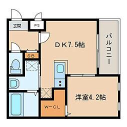 西鉄天神大牟田線 西鉄久留米駅 徒歩5分の賃貸アパート 3階1DKの間取り