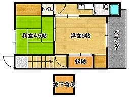 兵庫県神戸市兵庫区都由乃町3丁目の賃貸アパートの間取り
