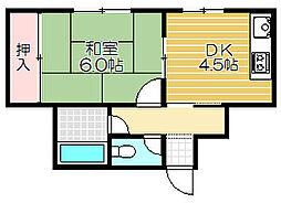 Osaka Metro谷町線 守口駅 徒歩4分の賃貸マンション 2階1DKの間取り