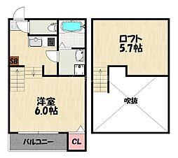 JR鹿児島本線 箱崎駅 徒歩10分の賃貸アパート 2階1Kの間取り