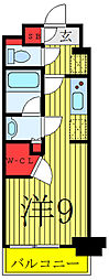 JR山手線 駒込駅 徒歩1分の賃貸マンション 4階ワンルームの間取り