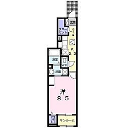 メゾン・ド・KOU B 1階1Kの間取り