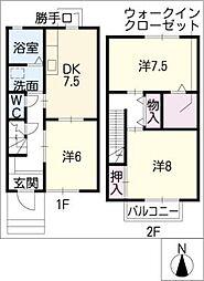 ミレニアムヴィレッジ A棟 2階3DKの間取り