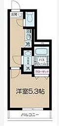 JR中央線 高円寺駅 徒歩9分の賃貸マンション 2階ワンルームの間取り