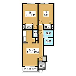 ジェルメ・メゾン2号館[1階]の間取り
