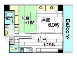 ルミナール南堀江[3階]の間取り
