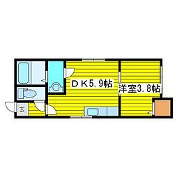 北海道札幌市東区北八条東8丁目の賃貸アパートの間取り