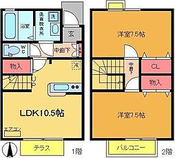 [テラスハウス] 東京都葛飾区宝町2丁目 の賃貸【/】の間取り