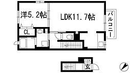 兵庫県伊丹市荻野1丁目の賃貸アパートの間取り