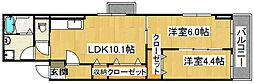 大阪府大東市灰塚6丁目の賃貸アパートの間取り