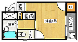 京都府京都市山科区四ノ宮泉水町の賃貸アパートの間取り