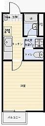 メゾンセレスオークラ206 2階ワンルームの間取り