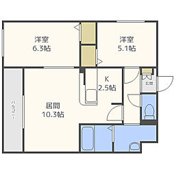 札幌市営東豊線 東区役所前駅 徒歩8分の賃貸マンション 5階2LDKの間取り