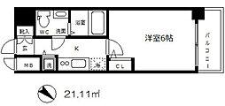エスリード大阪城 6階1Kの間取り