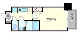 プレサンス新大阪ストリーム 2階1Kの間取り