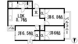 兵庫県伊丹市東野4丁目の賃貸マンションの間取り