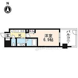 京都地下鉄東西線 太秦天神川駅 徒歩6分の賃貸マンション 6階1Kの間取り