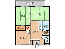 南海高野線 御幸辻駅 徒歩5分の賃貸アパート 2階3DKの間取り